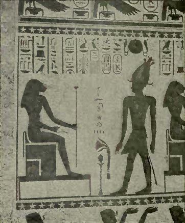 An egyptian wall-painting: The Adoration Of The Goddess Pasht