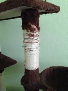 Sisalstamm eines sehr billigen Kratzbaumes nach wenigen Wochen