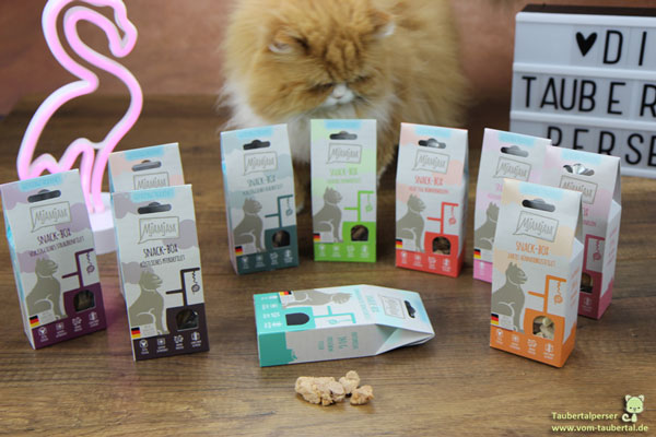 Mjamjam, Katzenfuttertest, unabhängiger Futtertest, Taubertalperser, Katzenfutter, hochwertiges Katzenfutter, purer Fleischgenuss, Snackbox