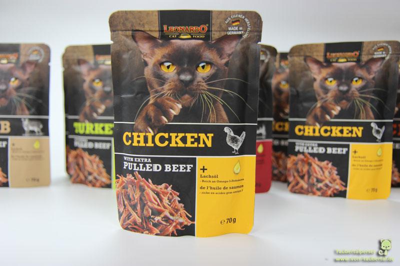 Leonardo Pulled Beef Chicken, Taubertalperser, Katzenblog, Katzenfuttertest
