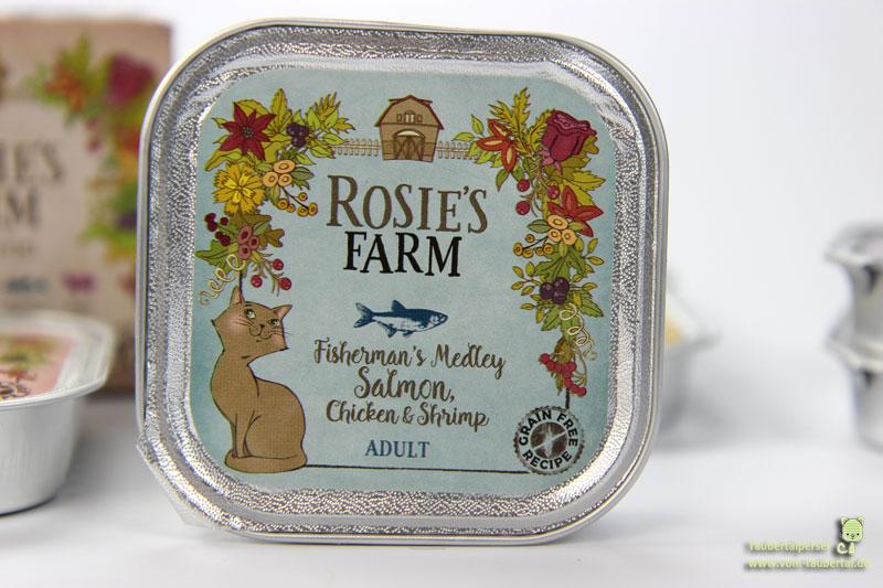 Katzenfutter Rosie's Farm Lachs, Huhn und Garnelen, Taubertalperser